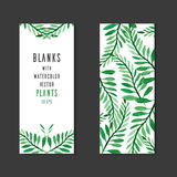 Vector blank with place for text, and the reverse side with watercolor plants vector illustration