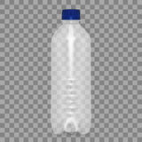 Vector blank plastic blue water bottle transparent. Eps10 Stock Photos