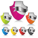 Vector blank shield with ribbon Royalty Free Stock Photography