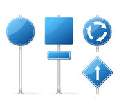 Vector Blank Traffic Sign blue set Royalty Free Stock Image