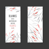 Vector blank with watercolor gentle plants Royalty Free Stock Photo