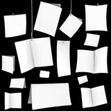 VECTOR blank white cards. Vector illustration set of blank white cards on black Royalty Free Stock Images