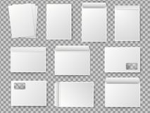 Vector blank white paper C4 envelope set. Realistic mockup for paper A4. Different types of envelopes royalty free illustration