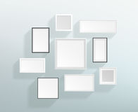 Vector Blank White Realistic Frames On A Wall Design Stock Image