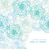 Vector blaue Linie Kunstblumenrahmen-Eckenmuster Stockfotos