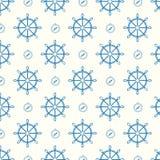 Vector blaue Schiffsräder und -kompaß des nahtlosen Musters Lizenzfreie Stockfotografie