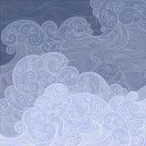 vector blaues Wellenfischnetz, Sturm auf dem Meer oder Ozean Lizenzfreie Stockfotografie