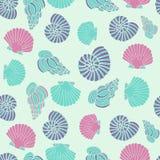 Vector blauw naadloos overzees patroon met zeeschelpillustraties Royalty-vrije Stock Foto