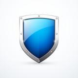 Vector blauw schildpictogram stock afbeelding