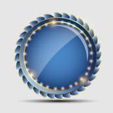 Vector blauw teken, etiketmalplaatje Stock Foto