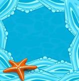 Vector blauwe achtergrond met oceaangolven en starfi Stock Afbeeldingen