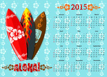Vector blauwe Aloha-kalender 2015 met brandingsraad Stock Afbeelding