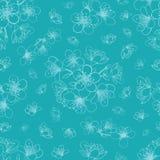 Vector blauwe cyaansakura van de kersenbloesem bloeit naadloze patroonachtergrond royalty-vrije illustratie