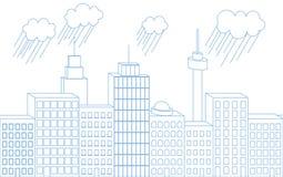 Vector blauwe dunne lijn naadloze 3D illustratie van grote stadsisola vector illustratie