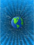 Vector Blauwe grean planeet op ruimteachtergrond Stock Foto's