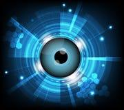 Vector blauwe oogappel cyber toekomstige technologie, de achtergrond van het veiligheidsconcept Stock Afbeelding