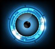 Vector blauwe oogappel cyber toekomstige technologie, de achtergrond van het veiligheidsconcept Royalty-vrije Stock Afbeelding
