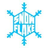 Vector blauwe sneeuwvlok met het van letters voorzien op witte achtergrond Stock Afbeeldingen