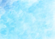 Vector Blauwe Waterverf en Halftone Dots Pattern Background royalty-vrije illustratie