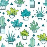 Vector Blauwgroene Naadloos herhaalt Patroon met het Groeien Succulents en Cactussen in Potten In tropisch ontwerp voor textiel vector illustratie