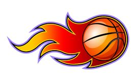Vector blazing basketball ball with classic muscle car flames. stock illustration