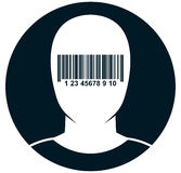 Vector blind-folded man illustration isolated on white. New world order. Blinded dazzled by globalization. Blind-folded man. Human face in barcode blindfold Royalty Free Stock Image