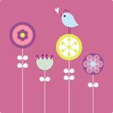 Vector bloem en vogel vector illustratie