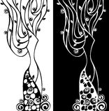 Vector bloemen abstracte vrouw Stock Fotografie
