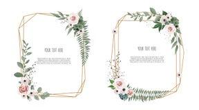 Vector bloemen botanisch kaartontwerp met bladeren met geometrisch kader stock illustratie
