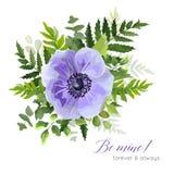 Vector bloemen elegant botanisch kaartontwerp met ultraviolette bl royalty-vrije illustratie