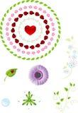 Vector bloemen geplaatste elementen stock illustratie