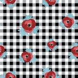 Vector bloemen herhaalt naadloos patroon met rode en roze anemoonbloemen op zwarte gecontroleerde achtergrond royalty-vrije illustratie