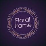 Vector bloemen lineair stijlkader - art decogrens Stock Fotografie