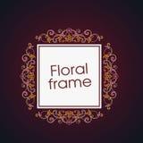 Vector bloemen lineair stijlkader - art decogrens Royalty-vrije Stock Foto's