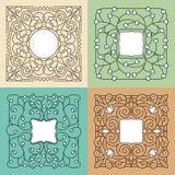 Vector bloemen monolijnkader met exemplaarruimte Stock Afbeelding