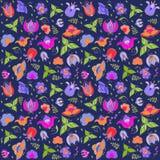 Vector bloemen naadloos patroon Stock Afbeelding