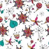 Vector bloemen naadloos patroon met abstracte vruchten en bloemen Stock Foto's