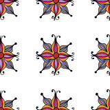 Vector bloemen naadloos patroon met abstracte vruchten en bloemen Stock Afbeelding