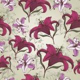 Vector bloemen naadloos patroon met Lelies in uitstekende stijl Royalty-vrije Stock Afbeeldingen