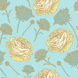 Vector bloemen naadloos patroon met Perzische boterbloem Stock Afbeeldingen