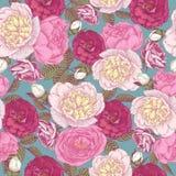 Vector bloemen naadloos patroon met pioenen en rozen Royalty-vrije Stock Foto
