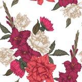 Vector bloemen naadloos patroon met tulpen, gladiolen en dahlia's Royalty-vrije Stock Foto