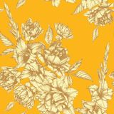 Vector bloemen naadloos patroon met tulpen, gladiolen en dahlia's Royalty-vrije Stock Fotografie