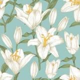 Vector bloemen naadloos patroon met witte lelies Stock Fotografie