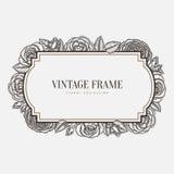 Vector Bloemen uitstekend frame Retro grafische stijl Royalty-vrije Stock Fotografie