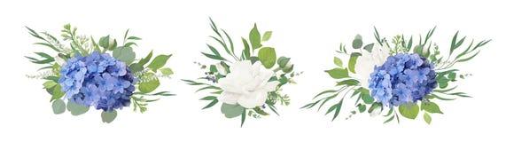 Vector bloemenboeketontwerp: blauwe hydrangea hortensiabloem, tuin peon stock illustratie