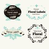 Vector bloemenembleemkentekens en etiketten Stock Foto