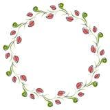 Vector bloemenframe Leuke grens in de vorm van cirkel met decoratieve rozen Stock Foto's