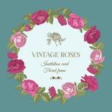Vector bloemengroetkaart met een rond kader van rode en roze rozen Stock Afbeeldingen