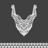 Vector bloemenhalslijn en kantgrensontwerp voor manier royalty-vrije stock afbeelding